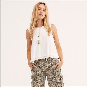 Free People New Love Tank Top Ribbed White